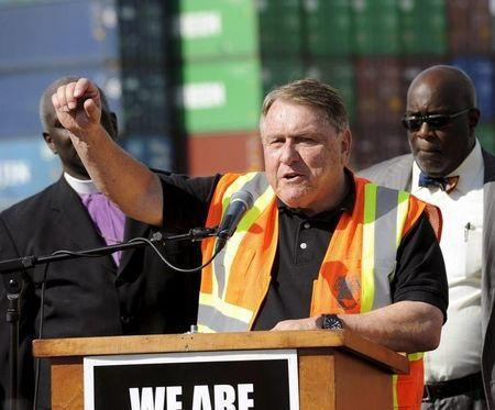 President of the International Brotherhood of Teamsters labour union James P. Hoffa speaks at a news conference regarding truck drivers striking against what they say are misclassification of workers at the Ports of Long Beach and Los Angeles in Long Beach, California October 27, 2015. REUTERS/Bob Riha Jr.
