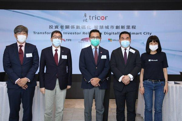 (Photo from left to right: Dr David Chung Wai-keung JP, Under Secretary for Innovation and Technology, Mr. Wilson Yuen, Founder and CEO of TFI Digital Media Limited, Professor Way Kuo, President of CityU, Mr. Joe Wan, CEO of Tricor Hong Kong, Mr. Kenny Koo, Executive Director and CEO of Hutchison Telecommunications Hong Kong Holdings Limited, Mr Lester Garson Huang, JP, Chairman of the Council of CityU, and Ms. Cally Chan, General Manager of Microsoft Hong Kong and Macau)