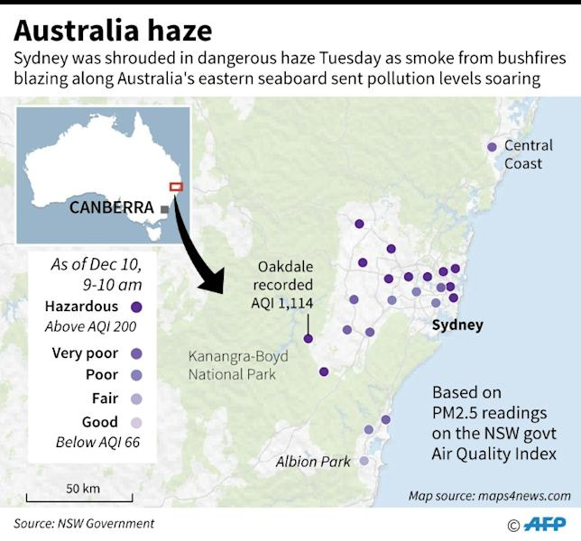 Map of New South Wales in Australia showing the Air Quality Index readings in areas near Sydney that recorded hazardous levels of air pollution on Tuesday