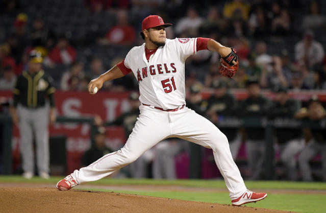 Los Angeles Angels starting pitcher Jaime Barria throws to the plate during the first inning of a baseball game against the Oakland Athletics, Friday, Sept. 28, 2018, in Anaheim, Calif. (AP Photo/Mark J. Terrill)