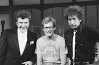<p>Liberace, David Letterman, and Bob Dylan at <em>Late Night with David Letterman</em> on March 22, 1984.</p>