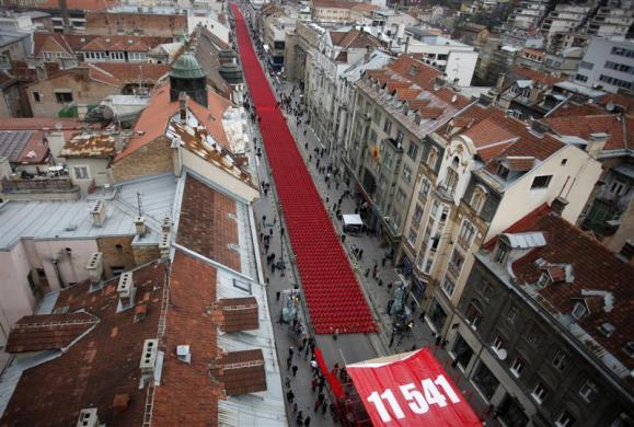 11,541 red chairs are pictured along Titova street in Sarajevo as the city marks the 20th anniversary of the start of the Bosnian war, April 6, 2012.
