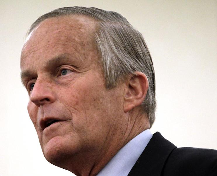 FILE - In this Sept. 25, 2012 file photo, Missouri Republican Senate candidate, Rep. Todd Akin, R-Mo., speaks during a news conference in St. Louis. A conservative fundraising group endorsed embattled Missouri Senate candidate Todd Akin on Thursday and said its membership had pledged $290,000 to help replenish the Republican's financially strapped campaign against Democratic Sen. Claire McCaskill. (AP Photo/Jeff Roberson, File)
