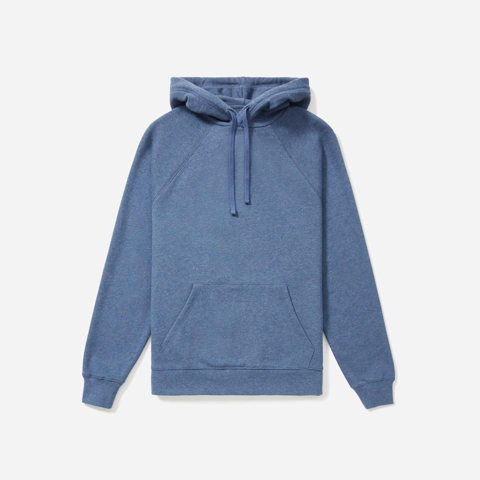"""<p><strong>Everlane</strong></p><p>everlane.com</p><p><strong>$60.00</strong></p><p><a href=""""https://go.redirectingat.com?id=74968X1596630&url=https%3A%2F%2Fwww.everlane.com%2Fproducts%2Fmens-ltwt-french-terry-hoodie-heather-blue&sref=https%3A%2F%2Fwww.esquire.com%2Fstyle%2Fmens-fashion%2Fg3357%2Fbest-hoodies-men%2F"""" rel=""""nofollow noopener"""" target=""""_blank"""" data-ylk=""""slk:Buy"""" class=""""link rapid-noclick-resp"""">Buy</a></p><p>Must be a huge surprise to see Everlane on this list, right? (That's sarcasm, for anyone new here.) When it comes to well-made wardrobe staples, Everlane, once again, has you covered. </p>"""