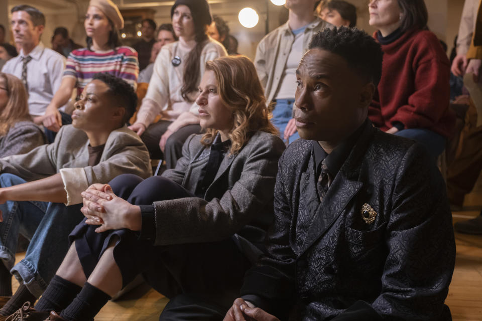 Danielle Cooper as Wanda, Sandra Bernhard as Nurse Judy and Billy Porter as Pray Tell attend an Act Up meeting to advocate for AIDS victims in the Season 2 premiere of FX's 'Pose' (Macall Polay/FX)
