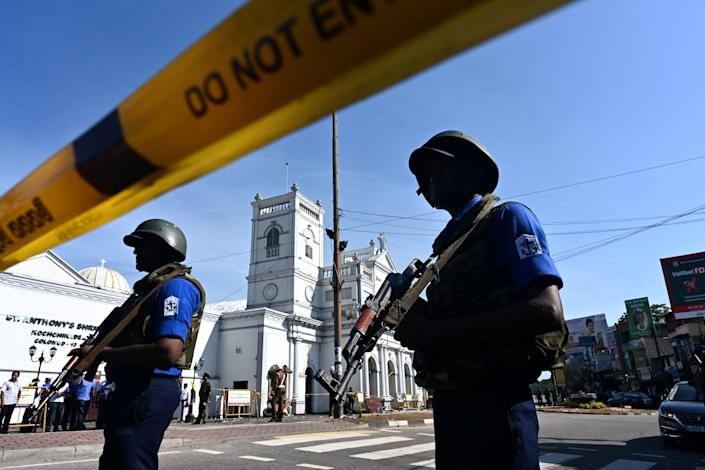 Security personnel stand guard outside St. Anthony's Shrine in Colombo on April 22, 2019, a day after the church was hit in a series of bomb blasts targeting churches and luxury hotels in Sri Lanka. (Photo: Jewel Samad/AFP/Getty Images)