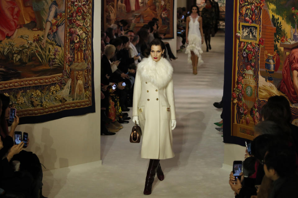 A model wears a creation for the Lanvin fashion collection during the Women's fashion week Fall/Winter 2020/21 presented in Paris, Wednesday, Feb. 26, 2020. (AP Photo/Francois Mori)