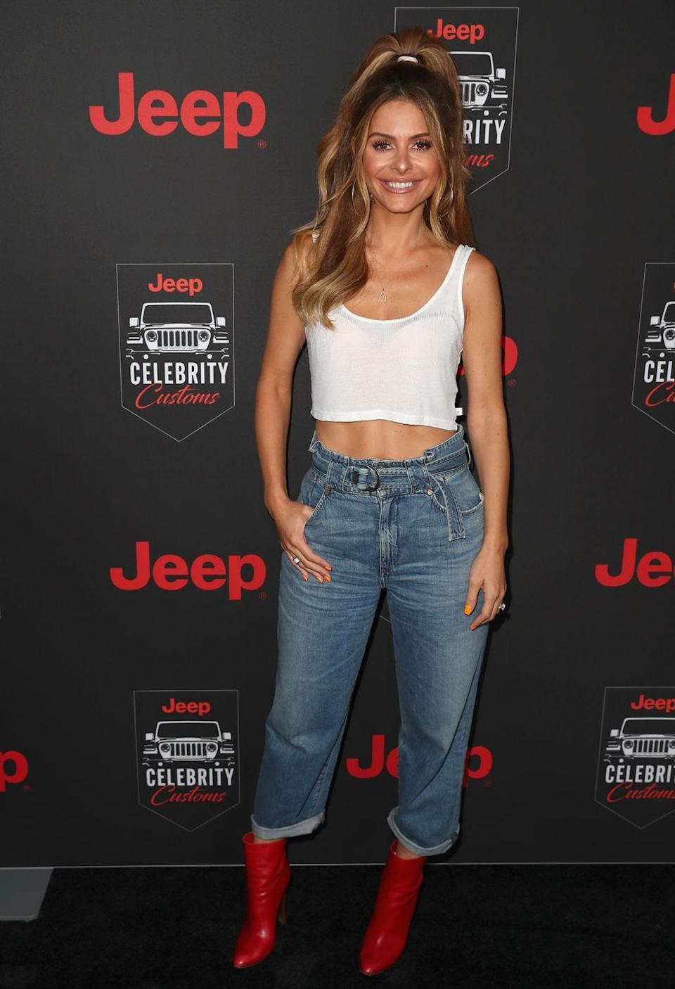 "<p>The TV host appeared on <em>Dancing with the Stars</em> in 2012, which <a href=""https://www.womenshealthmag.com/life/a19931805/maria-menounos-interview/"" rel=""nofollow noopener"" target=""_blank"" data-ylk=""slk:she said"" class=""link rapid-noclick-resp"">she said</a> was the best workout ever. ""My core got so tight, and my butt was like a rock! I have never been able to get my calves so defined,"" she said. She's clearly maintained that body post-<em>DWTS</em>.</p>"