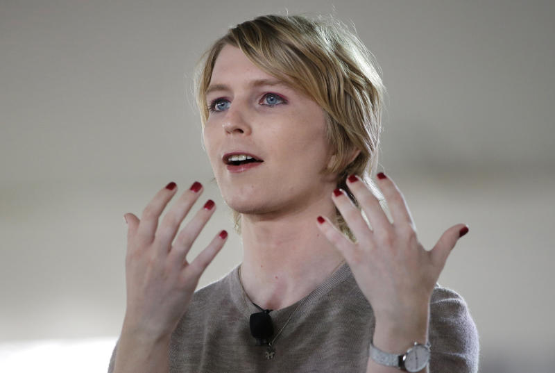 RETRANSMISSION TO CORRECT RANK TO INTELLIGENCE ANALYST - FILE - In this Sunday, Sept. 17, 2017 file photo, Chelsea Manning speaks during the Nantucket Project's annual gathering in Nantucket, Mass. On Thursday, Jan. 11, 2018, Manning, the transgender former Army intelligence analyst who was convicted of leaking classified documents, filed her statement of candidacy with the Federal Election Commission to run for the U.S. Senate in Maryland. She will challenge Democrat Ben Cardin who has served two terms. (AP Photo/Steven Senne)