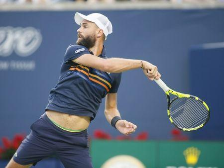 Aug 8, 2018; Toronto, Ontario, Canada; Benoit Paire (FRA) returns a ball to Rafael Nadal (not pictured) in the Rogers Cup tennis tournament at Aviva Centre. John E. Sokolowski-USA TODAY Sports