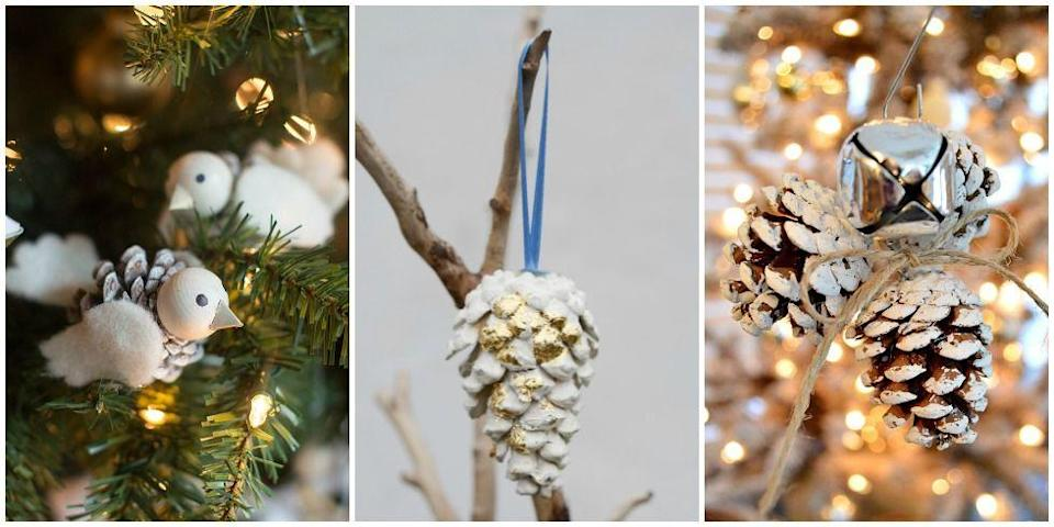"""<p>These DIY ornaments are extremely easy—and perfect for a kids' craft. Just dip pinecones in white paint and dust them in a little gold for total glam vibes.</p><p>Get the tutorial at <a href=""""http://www.fromchinavillage.com/2012/12/diy-christmas-ornaments-three-ways/"""" rel=""""nofollow noopener"""" target=""""_blank"""" data-ylk=""""slk:From China Village"""" class=""""link rapid-noclick-resp"""">From China Village</a>.</p>"""
