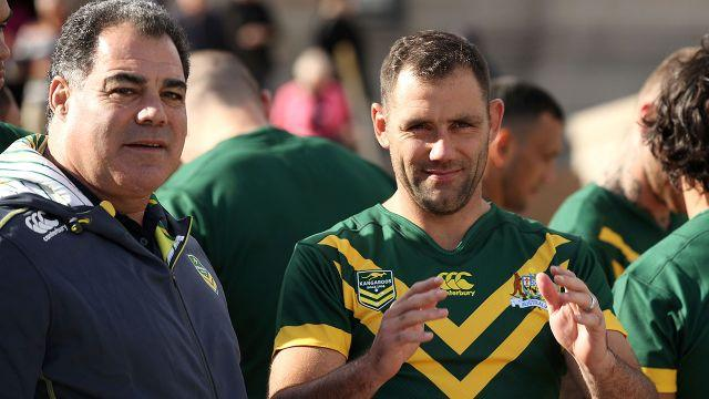Meninga and skipper Cameron Smith. Image: Getty
