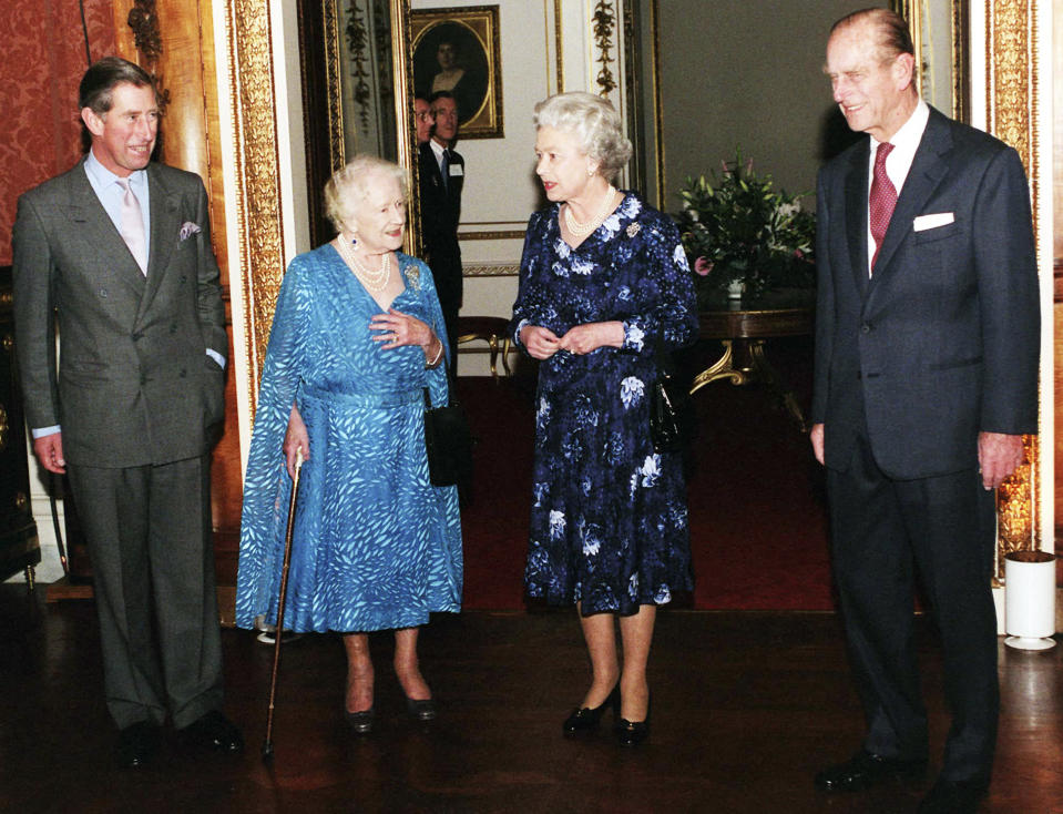 The Queen Mother, Queen Elizabeth II and Prince Philip join the Prince of Wales for his 50th birthday party. Source: Getty