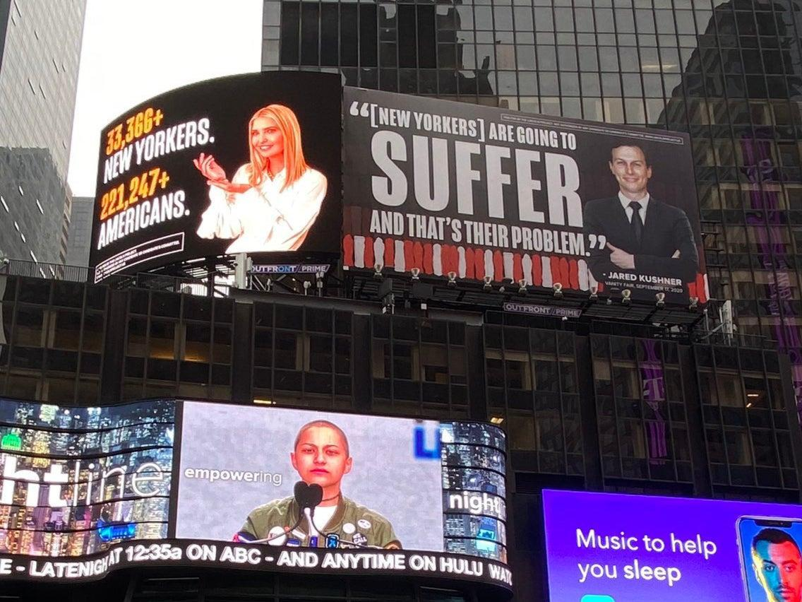 The Lincoln Project has installed two billboards in Times Square attacking Ivanka Trump and Jared Kushner over deaths from Covid-19 (The Lincoln Project)