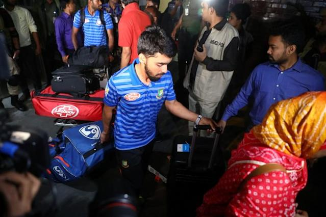Mominul Haque, a member of the Bangladesh Cricket Team, arrives at the Hazrat Shahjalal International Airport from New Zealand after narrowly avoiding the Christchurch mosque attacks, in Dhaka