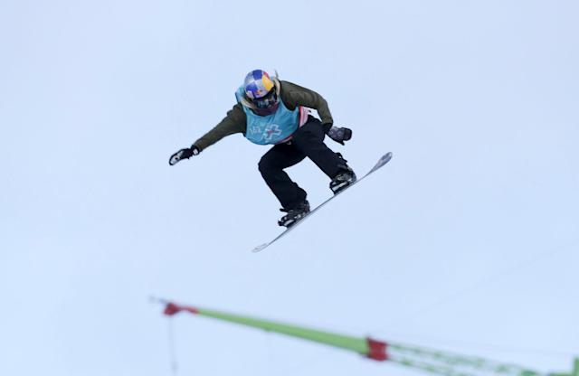 Anna Gasser of Austria competes at the X-Games Women's Snowboard Slopestyle finals, receiving Gold, in Hafjell, Norway March 10, 2017. NTB Scanpix/Geir Olsen/via REUTERS ATTENTION EDITORS - THIS IMAGE WAS PROVIDED BY A THIRD PARTY. FOR EDITORIAL USE ONLY. NORWAY OUT. NO COMMERCIAL OR EDITORIAL SALES IN NORWAY. NO COMMERCIAL SALES.