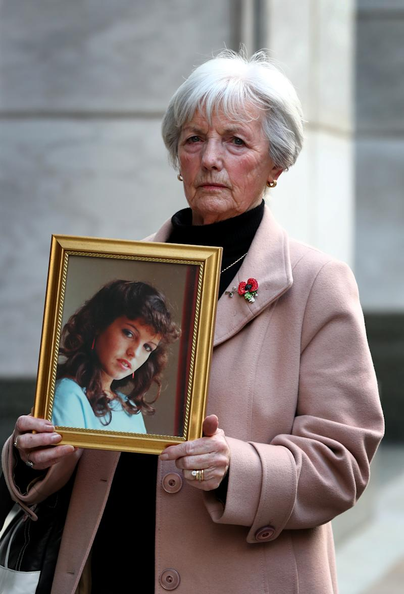 Marie McCourt, mother of Helen McCourt, after she gave evidence at a Parole board hearing on the release of Ian Simms who murdered her daughter in 1988.