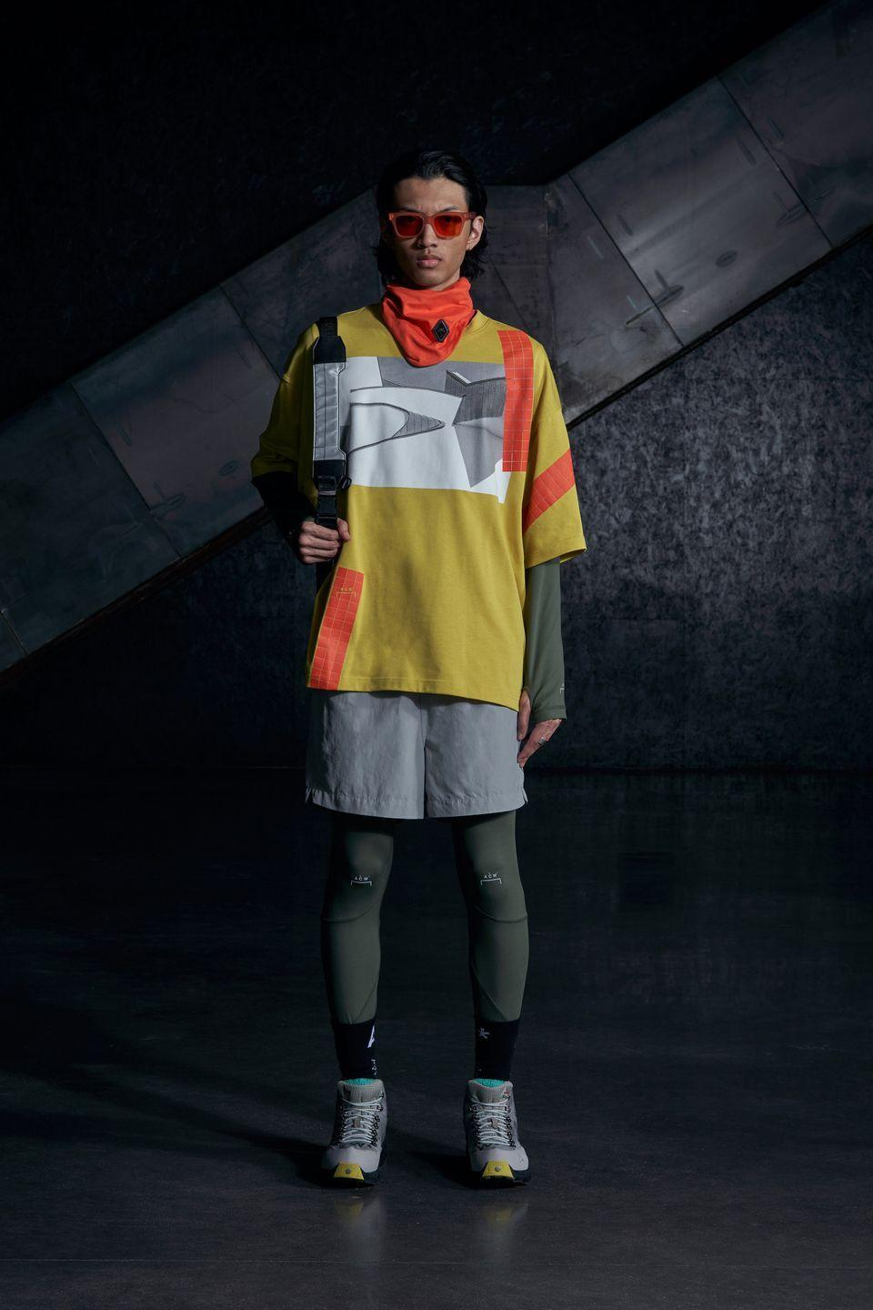 <p>Samuel Ross is a designer who, typically, works best with angles and an absence of colour. His clothes, with their asymmetrical zips, jagged patterns and utilitarian overtones are often high performance, architectural, sculptural, sepulchral, conceptual. For this season, though, there's a lot of colour! Slime green, high-vis orange and pastel-ish yellow run throughout. Here is an example of a more vibrant Ross, the t-shirt printed with a Le Corbusier detail is a clever and on-brand take on graphic streetwear, paired with tech fabrics and summer colour. Architectural, but also... fun!</p><p><strong>Finlay Renwick, Deputy Style Editor</strong></p>