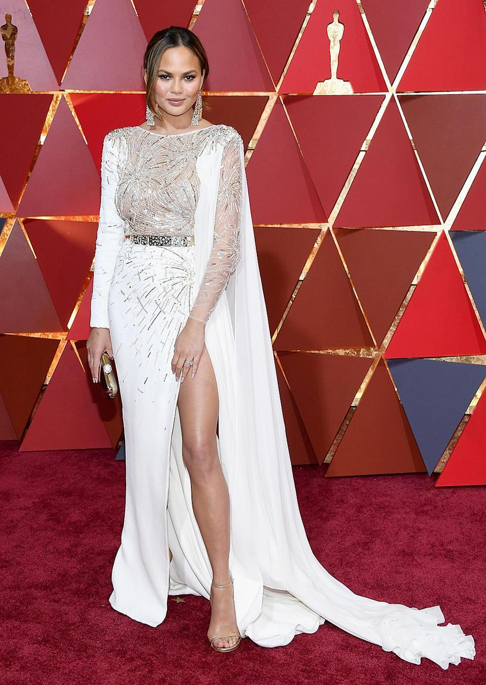 <p>Chrissy Teigen attends the 89th Annual Academy Awards at Hollywood & Highland Center on February 26, 2017 in Hollywood, California. (Photo by Kevork Djansezian/Getty Images) </p>