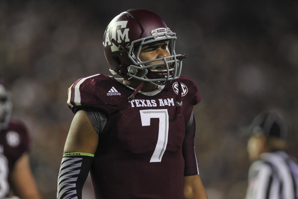 Oct 11, 2014; College Station, TX, USA; Texas A&M Aggies quarterback Kenny Hill (7) reacts after a play during the second quarter against the Mississippi Rebels at Kyle Field. (Troy Taormina-USA TODAY Sports)
