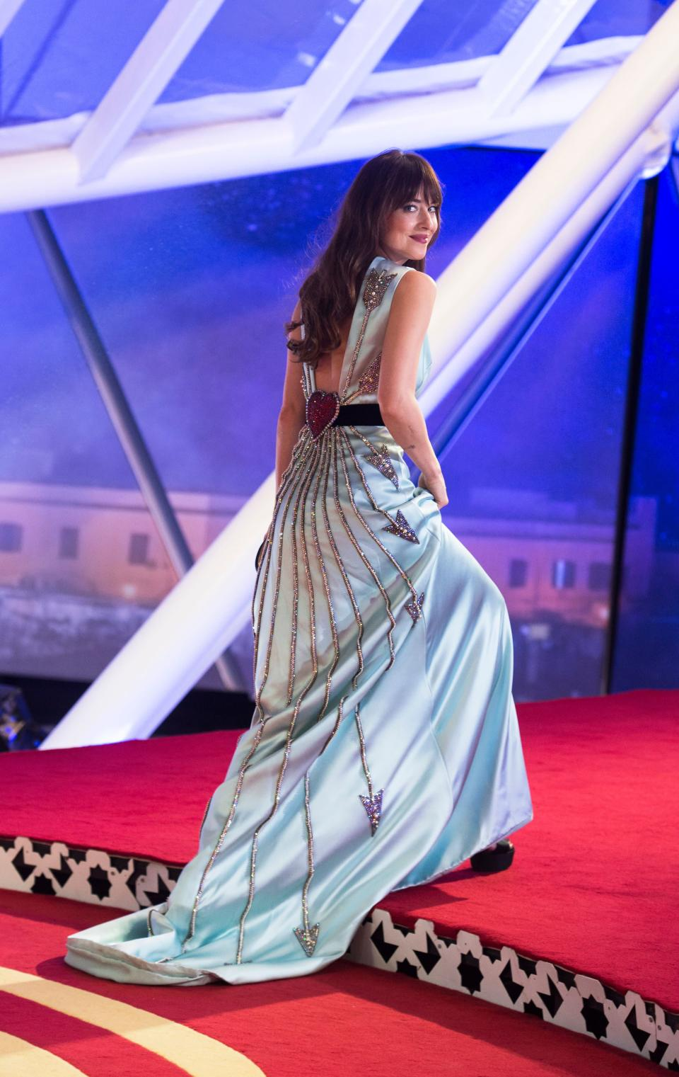 <p>The actress wore a custom Gucci look for the film festival's closing ceremony. <em>[Photo: Getty]</em> </p>
