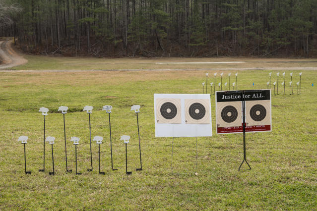 Targets at the .22 Silhouette Match. (Photo: Ben Rollins for Yahoo News)