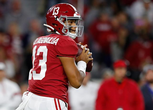 """<a class=""""link rapid-noclick-resp"""" href=""""/ncaaf/players/274844/"""" data-ylk=""""slk:Tua Tagovailoa"""">Tua Tagovailoa</a> will not return against Tennessee. (Photo by Kevin C. Cox/Getty Images)"""