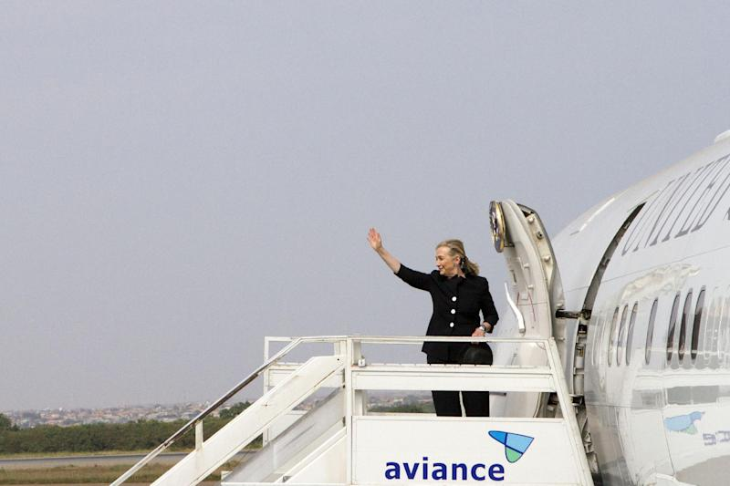 Secretary of State Hillary Rodham Clinton prepares to leave Accra, Ghana, en route to Benin, the last stop in Africa, Friday, Aug. 10, 2012. (AP Photo/Jacquelyn Martin, Pool)