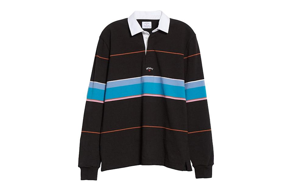 "$168, Nordstrom. <a href=""https://www.nordstrom.com/s/noah-multicolor-stripe-rugby-shirt/5593427?origin=keywordsearch-personalizedsort&breadcrumb=Home&color=none"" rel=""nofollow noopener"" target=""_blank"" data-ylk=""slk:Get it now!"" class=""link rapid-noclick-resp"">Get it now!</a>"