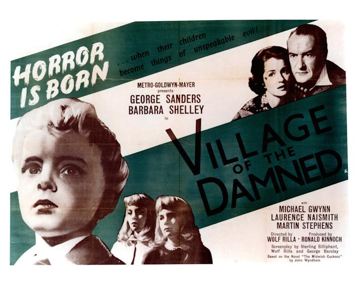 Barbara Shelley and George Sanders in movie art for the film 'Village Of The Damned', 1960. (Photo by Metro-Goldwyn-Mayer/Getty Images)