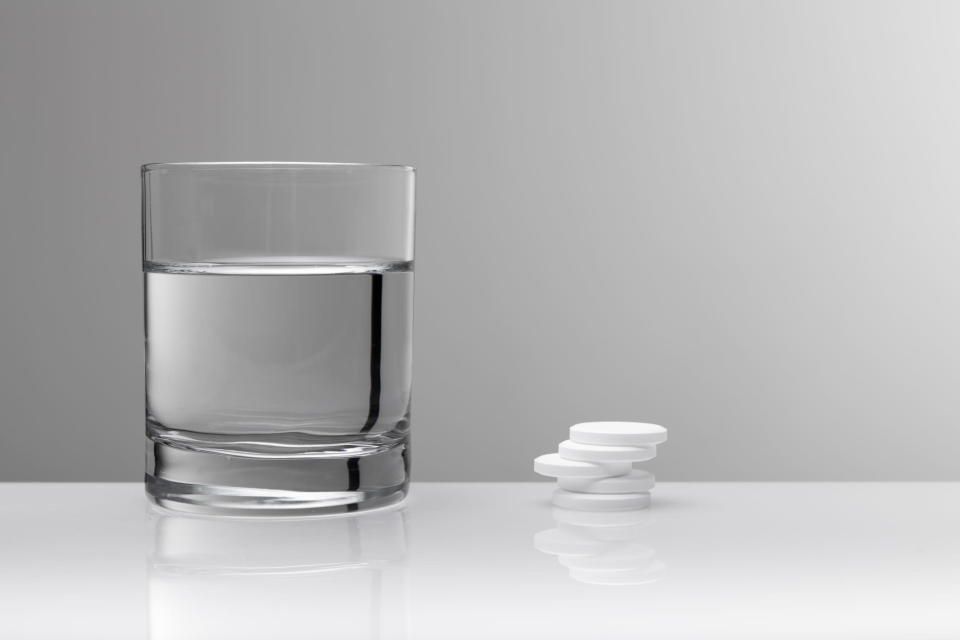 """<p>Dr Emeka claims that this is the ultimate secret weapon when combatting a hangover. He told the <a rel=""""nofollow noopener"""" href=""""http://www.bbc.co.uk/bbcthree/item/63d7e258-938c-4924-a189-83a25e5a49d7"""" target=""""_blank"""" data-ylk=""""slk:BBC"""" class=""""link rapid-noclick-resp""""><em>BBC</em></a>: """"Before you go out, put a chair with two paracetamol and some water on your bed. That way, you won't forget to take these bad boys before flopping yourself into the bed.""""<br><br><strong>Ingredients:<br></strong><em>1 chair<br></em><em>2 paracetamol</em><br><br><em>[Photo: Getty]</em> </p>"""
