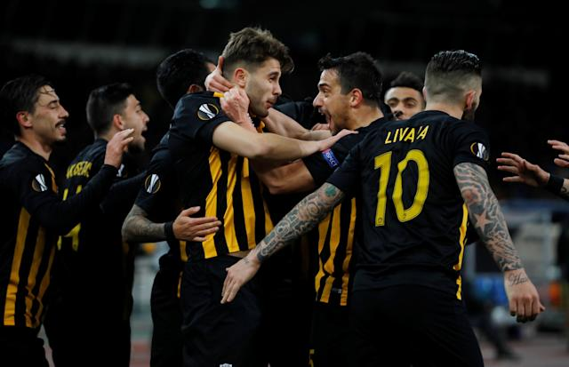 Soccer Football - Europa League Round of 32 First Leg - AEK Athens vs Dynamo Kiev - OAKA Spiros Louis, Athens, Greece - February 15, 2018 AEK's Astrit Ajdarevic celebrates scoring their first goal with team mates REUTERS/Alkis Konstantinidis