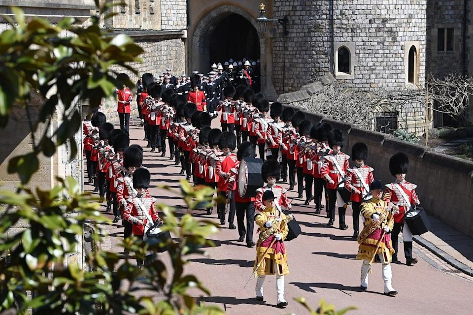 The Foot Guards Band are seen marching ahead of the funeral of Prince Philip, Duke of Edinburgh at Windsor Castle (WPA Pool/Getty Images)
