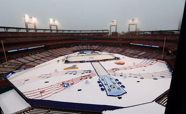 <p>ST. LOUIS, MO – JANUARY 2: A general view of the Stadium before fans arrive during the 2017 Bridgestone NHL Winter Classic Game at Busch Stadium on January 2, 2017 in St. Louis, Missouri (Photo by Jeff Curry/NHLI via Getty Images) </p>