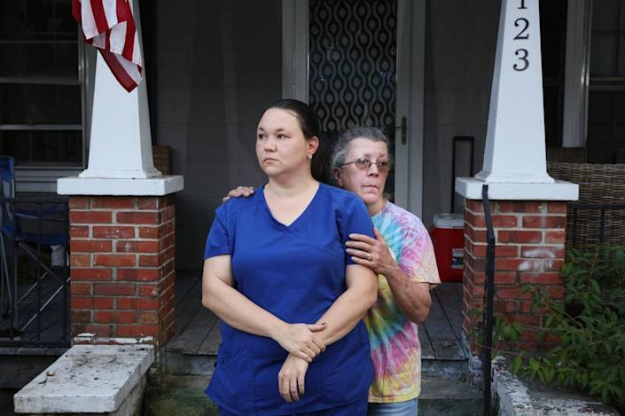 Joseph Williams' sister, Emily Spell, outside of her home in Garland, North Carolina, with their mother, Susan.