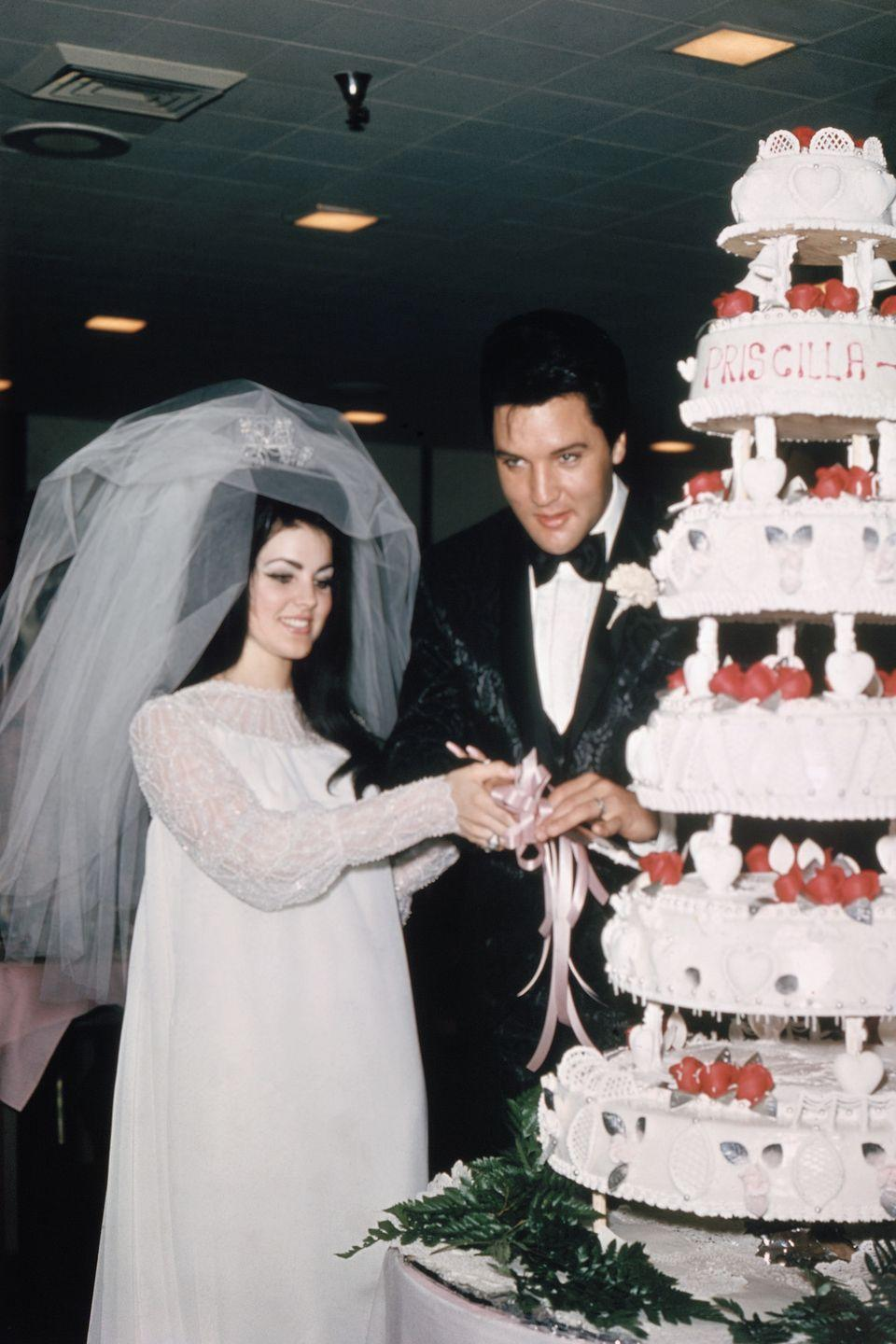 <p>Ready for a big surprise? Elvis Presley's wife Priscilla designed her own dress for the pair's Las Vegas wedding — and it was a dramatic one, featuring chiffon, beads, and a three-foot veil.</p>