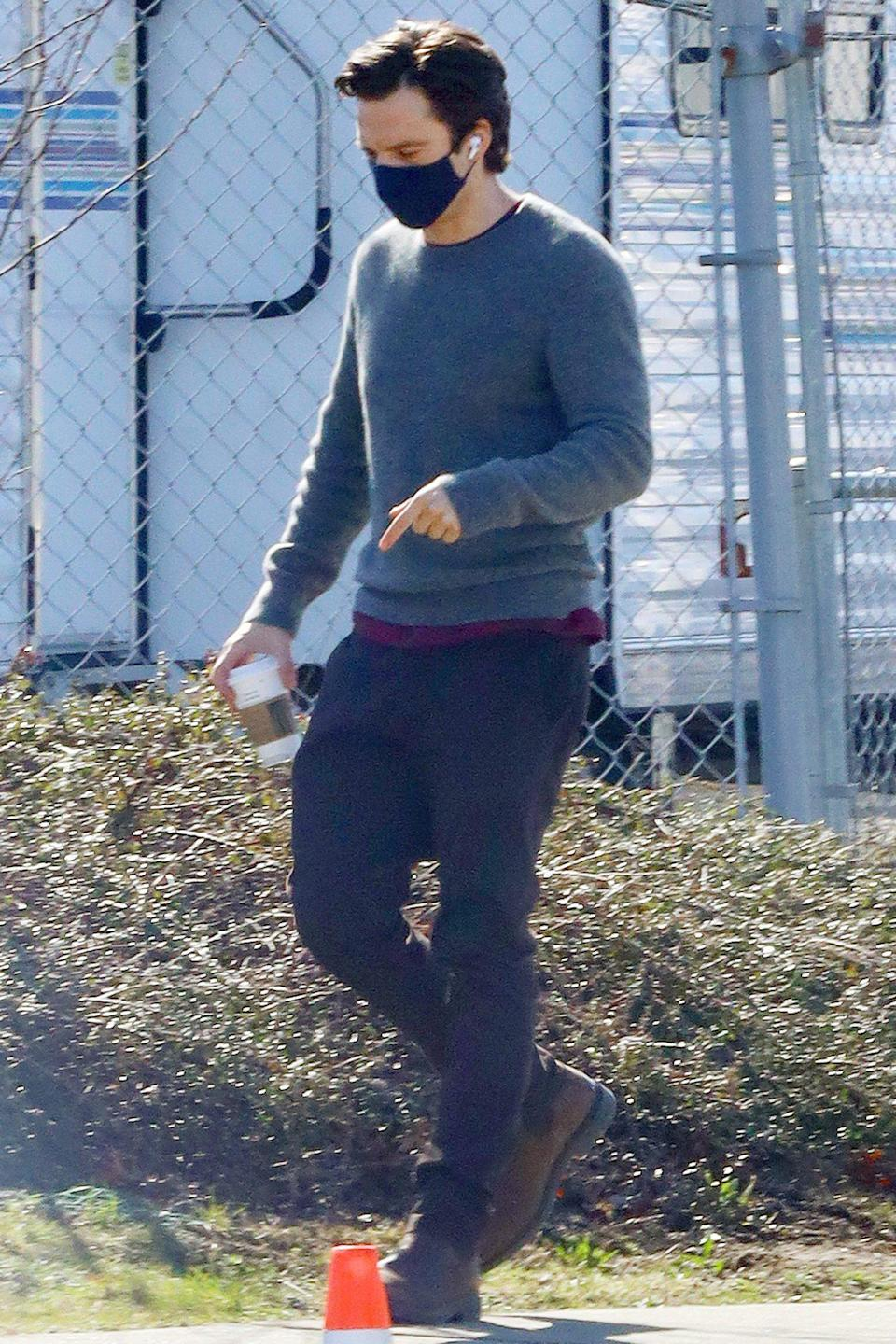 <p>Sebastian Stan heads to the set of <em>Fresh</em> in Vancouver, Canada, on Tuesday.</p>