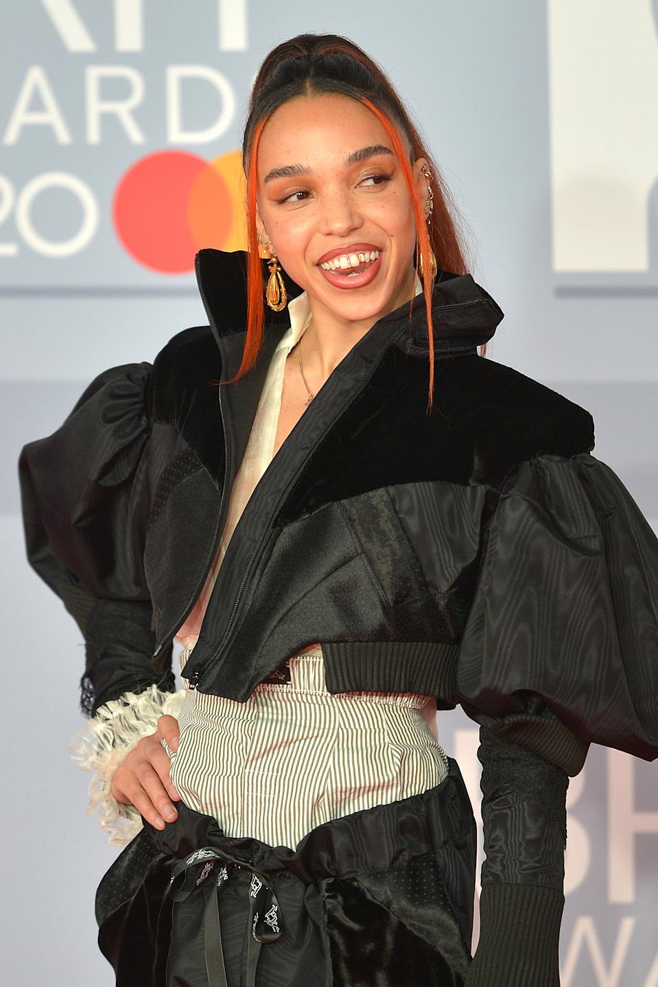 FKA Twigs attends The BRIT Awards 2020 at The O2 Arena on February 18, 2020 in London, England. (Photo by Jim Dyson/Redferns)