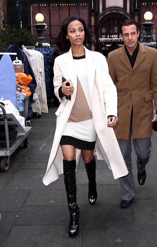 """""""Avatar"""" hottie Zoe Saldana turned heads on her way in to the Probal Gurung fall show. Love those boots! John Parra/<a href=""""http://www.wireimage.com"""" target=""""new"""">WireImage.com</a> - February 13, 2010"""