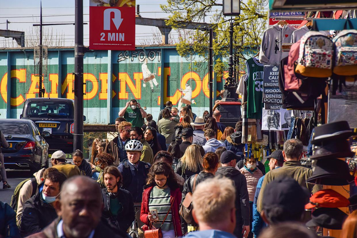 A crowded Camden high street: shoppers returned in force as COVID restrictions were relaxed in the UK. Photo: Vuk Valcic/SOPA/LightRocket via Getty Images