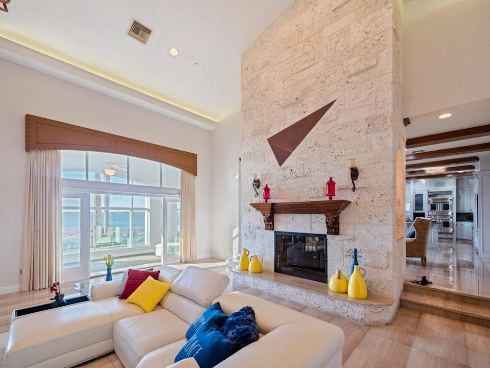 <p>That fireplace is a real stunner.</p>