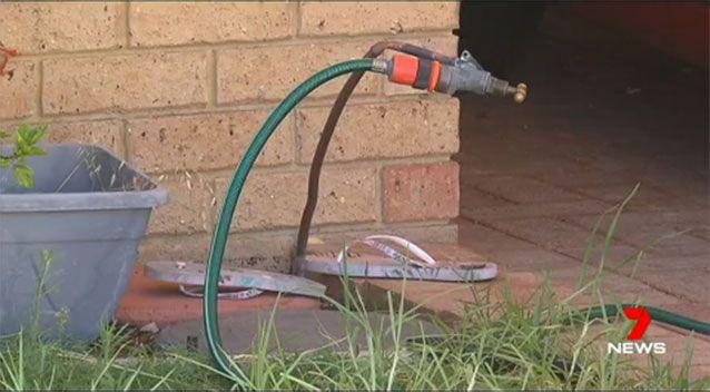 She suffered a massive electric shock when she went to turn off a garden tap at her home in the Perth suburb of Beldon. Source: 7 News