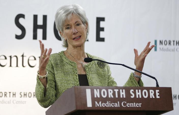 Department of Health and Human Services Secretary Kathleen Sebelius responds to questions during a news conference at the North Shore Medical Center, Tuesday, Nov. 19, 2013, in Miami. Sebelius visited Miami and Orlando Tuesday to talk up the Affordable Care Act as fallout from the new law grows. (AP Photo/Lynne Sladky)