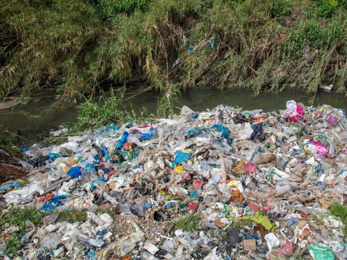 Plastic packaging from UK and global brands were found strewn across land at 10 sites (© Caner Ozkan / Greenpeace)