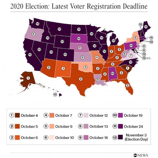 PHOTO: 2020 Election: Latest Voter Registration Deadline (ABC News)