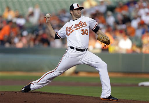 Baltimore Orioles starting pitcher Chris Tillman throws to the Cleveland Indians in the first inning of a baseball game, Tuesday, June 25, 2013, in Baltimore. (AP Photo/Patrick Semansky)
