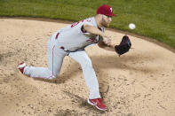 Philadelphia Phillies' Zack Wheeler delivers a pitch during the third inning of a baseball game against the New York Mets Wednesday, April 14, 2021, in New York. (AP Photo/Frank Franklin II)