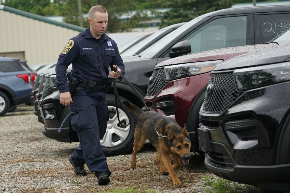Virginia State Police K-9 officer Tyler Fridley, works his dog Aries at State Police headquarters in Richmond, Va., Monday, May 10, 2021. Drug-sniffing police dogs from around Virginia are being forced into early retirement as the state prepares to legalize adult recreational use of marijuana on July 1. (AP Photo/Steve Helber)