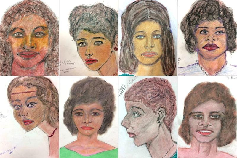 A sample of Samuel Little's eerie drawings of his many victims. | FBI