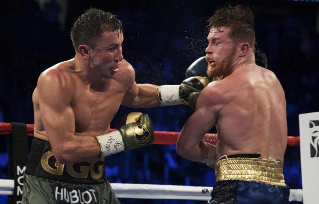 The betting odds for a rematch between Gennady Golovkin and Canelo Alvarez are similar to the odds for their first fight. (AP)